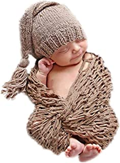 Newborn Baby Photography Props Boy Girls Photo Shoot Props Outfits Crochet Knitted Costume Unisex Cute Infant Hat Pants