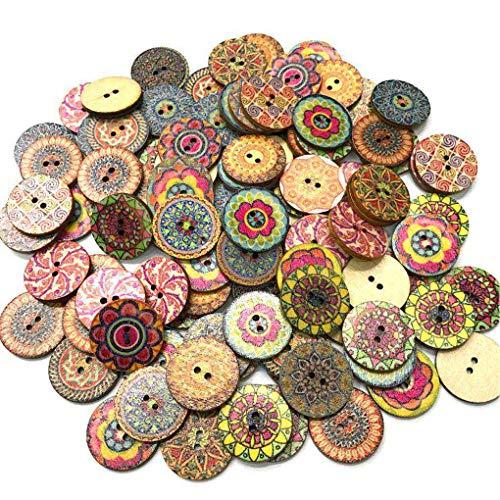 NOBRAND 100pcs / Bolsa Redonda Surtido Impreso Floral Botones Decorativos de Madera de DIY de Coser Crafts Color al Azar