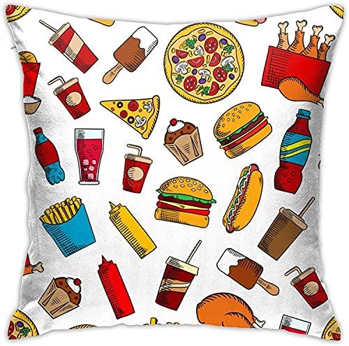 Fundas de Almohada de Pizza de Hamburguesa Fundas de cojín...