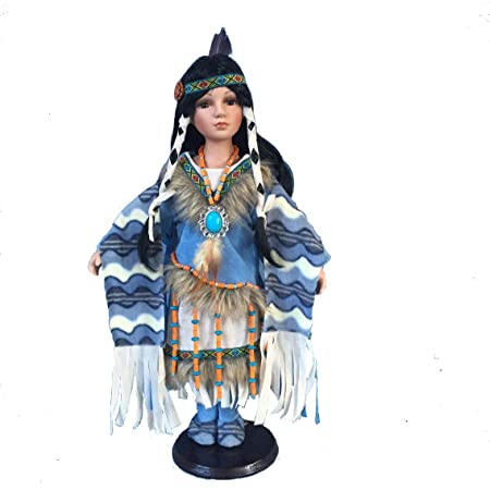 Realistic Faux Fur for Display Only Beads Cradled Baby Fringe Cert of Authenticity Included Polyester Porcelain Collections Etc Native American Mother and Baby Porcelain Doll Set