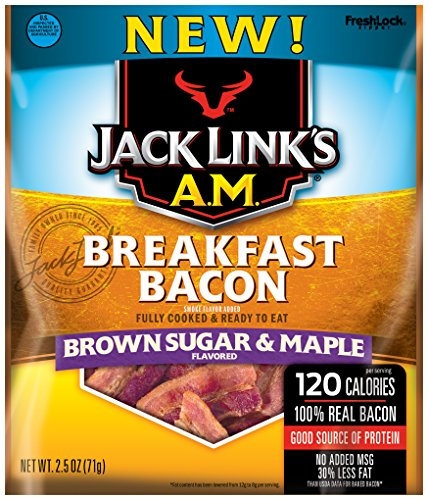 Jack Links A.M. Breakfast Bacon, Brown Sugar & Maple, 2.5 oz. Bag – Flavorful Ready to Eat Meat Snack with 11g of Protein, Made with 100% Real Bacon – No Added MSG or Nitrates/Nitrites