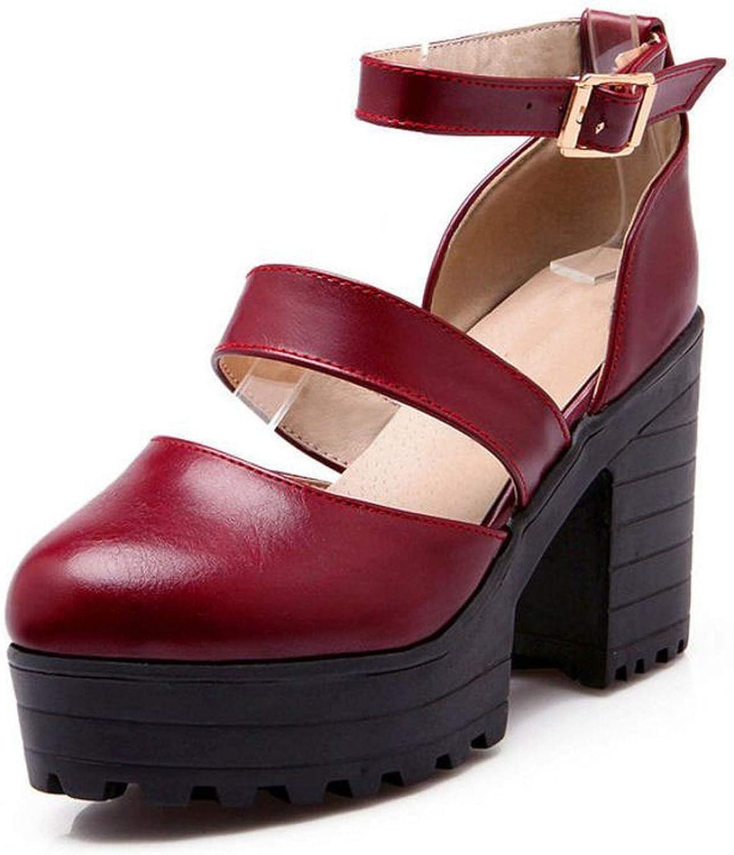 Platform High Heel Sandals Women Ankle Strap Thick Heel Snadal Summer Dress shoes