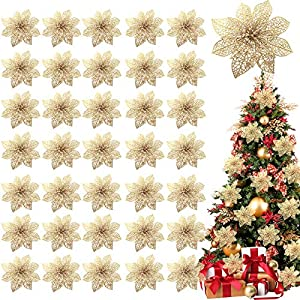 TURNMEON 36 Pack Christmas Flowers Decorations, Glitter Poinsettia Christmas Tree Ornaments, 4″ Artificial Silk Flowers Picks for Christmas Wreaths Garland Holiday Decoration (Gold)