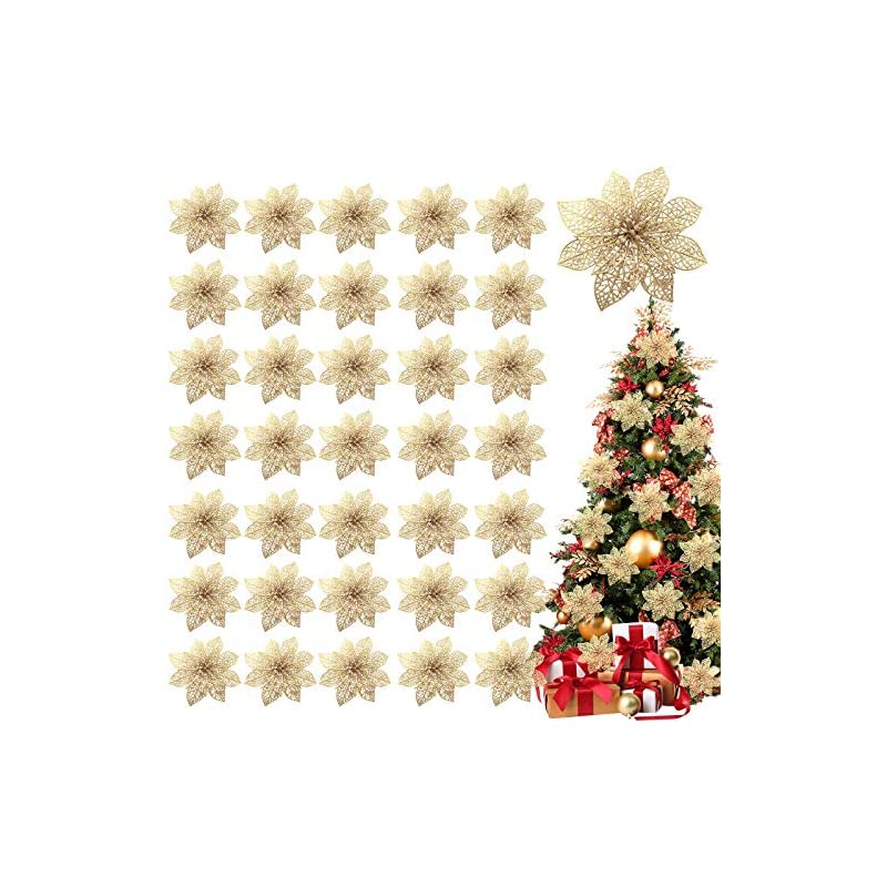 """silk flower arrangements turnmeon 36 pack christmas flowers decorations, glitter poinsettia christmas tree ornaments, 4"""" artificial silk flowers picks for christmas wreaths garland holiday decoration (gold)"""