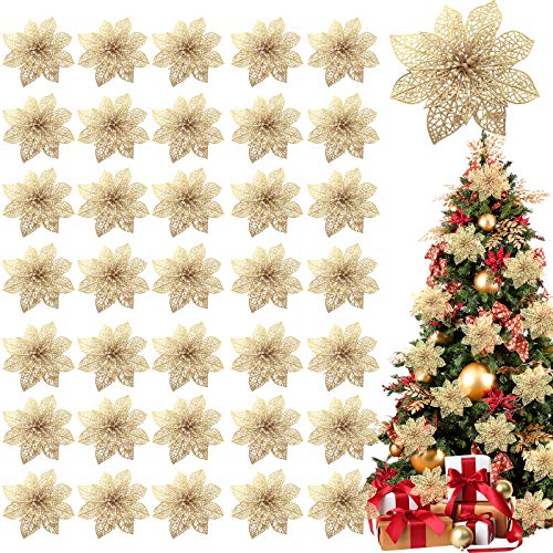 TURNMEON 36 Pack Christmas Flowers Decorations, Glitter Poinsettia Christmas Tree Ornaments, 4' Artificial Silk Flowers Picks for Christmas Wreaths Garland Holiday Decoration (Yellow Gold)