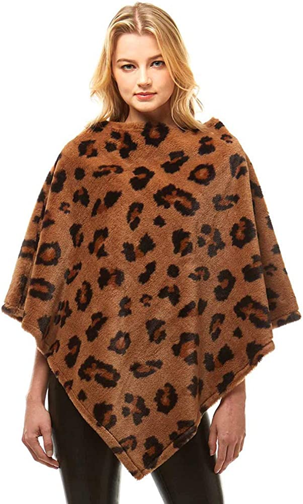 ScarvesMe Women's Leopard Faux Fur Poncho Cape Shawl