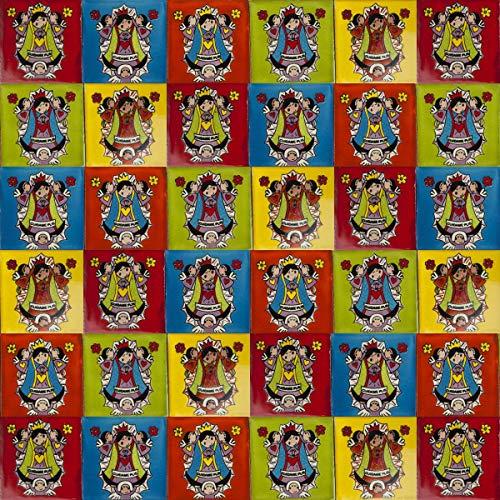 Cerames Virgenes- Azulejos Mexicanos decorados  10x10cm, 30 piezas   Azulejos artesanales de ceramica Talavera, hecho y pintado a mano, para baño y cocina