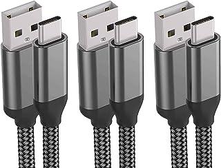 كابل شاحن USB C، 10FT 3Pack، شحن سريع 3A، نايلون ، سلك شحن لسامسونج جالاكسي نوت 10 9 8 S10e S10 S9 S8 Plus A10e A50 A20، L...