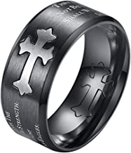 ALEXTINA Men's 9MM Bible Verse Isaiah 40:31 Stainless Steel Christian Purity Ring Beveled Edges