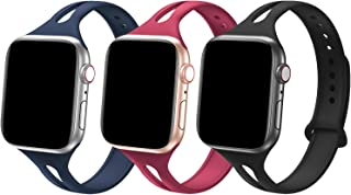Bandiction Sport Band Compatible with Apple Watch Band 38mm 40mm, [3 Pack] Soft Silicone Sport Strap Replacement Narrow Bands for iWatch Series 4 3 2 1 (Navy Blue/Purple/Black)