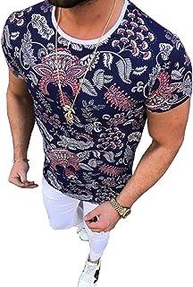 Pukemark Men's Summer Casual Slim Fit Short Sleeve Crew Neck Floral Graphic Hawaiian Tee T-Shirt Tops