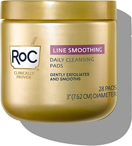 RoC Line Smoothing Daily Cleansing Pads DualAction Makeup Remover + Resurfacing Disks CT (Packaging May Vary) 28 Count