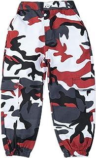 LOLANTA Pantalones Cargo de Camuflaje para niñas, Pantalones de Moda Streetwear de Cintura Alta para Adolescentes, Corte H...
