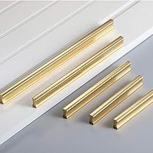 Angela-homestyle Meubelgrepen aluminium rail handvat handvat handvat voor keuken lade, deur, kasten decoratie (128 mm, goud)