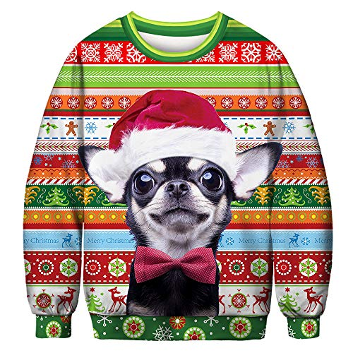 URVIP Unisex Halloween Christmas Themes 3D-Print Athletic Sweaters Fashion Hoodies Sweatshirts Chihuahua BFT-042 M