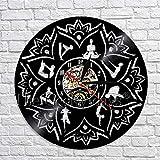 wtnhz LED-Semilla de la Vida Lotus Yoga Silueta Pared Art Deco Reloj de Pared 12 Pulgadas Cuarzo Mudo Retro decoración del hogar Hecha de Vinilo