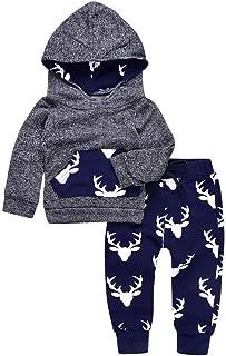 Infant Toddler Baby Boy Deer Long Sleeve Hoodie Tops Sweatsuit Pants Outfit Set for Newborn Boys