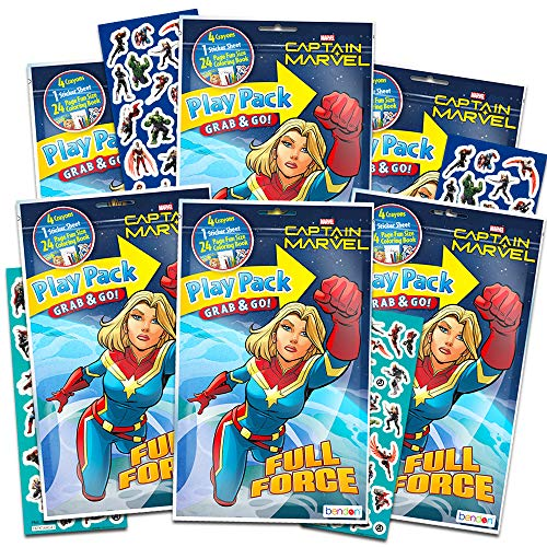 Captain Marvel Party Favors Pack ~ Bundle of 6 Captain Marvel Play Packs Filled with Stickers, Coloring Books, and Crayons with Stickers (Captain Marvel Party Supplies)