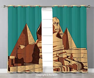 Grommet Blackout Window Curtains Drapes [ Egyptian,Vintage Poster of Sphinx and Pyramids in Giza Ancient Famous Monument Cairo,Teal Light Brown ] for Living Room Bedroom Dorm Room Classroom Kitchen Ca