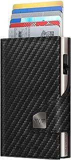 TRU VIRTU® Card Holder Click & Slide Carbon Black/Silver I Credit Card Holder Wallet I Card-Holder-RFID-NFC-Protection I W...