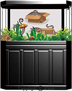 Aquarium Fish Tank Background,Cat,Black Cat Silhouettes in Different Poses Domestic Pets Kitty Paws Tail and Whiskers Decorative,Black White,Decor Paper Green Water Grass Aquatic Style Like Real,W24.0