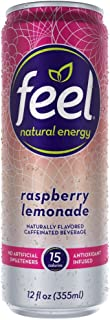 FEEL Natural Energy Drink, Low Calorie, Vegan, Gluten Free, Non-GMO, Healthy Energy Drink for Energy & Focus, Raspberry Lemonade, 12 Fl Oz Cans (Pack of 12)