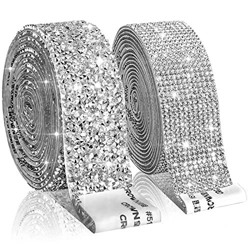 2 Rollos de Cintas Autoadhesivas de Diamantes de Imitación de Cristal de...