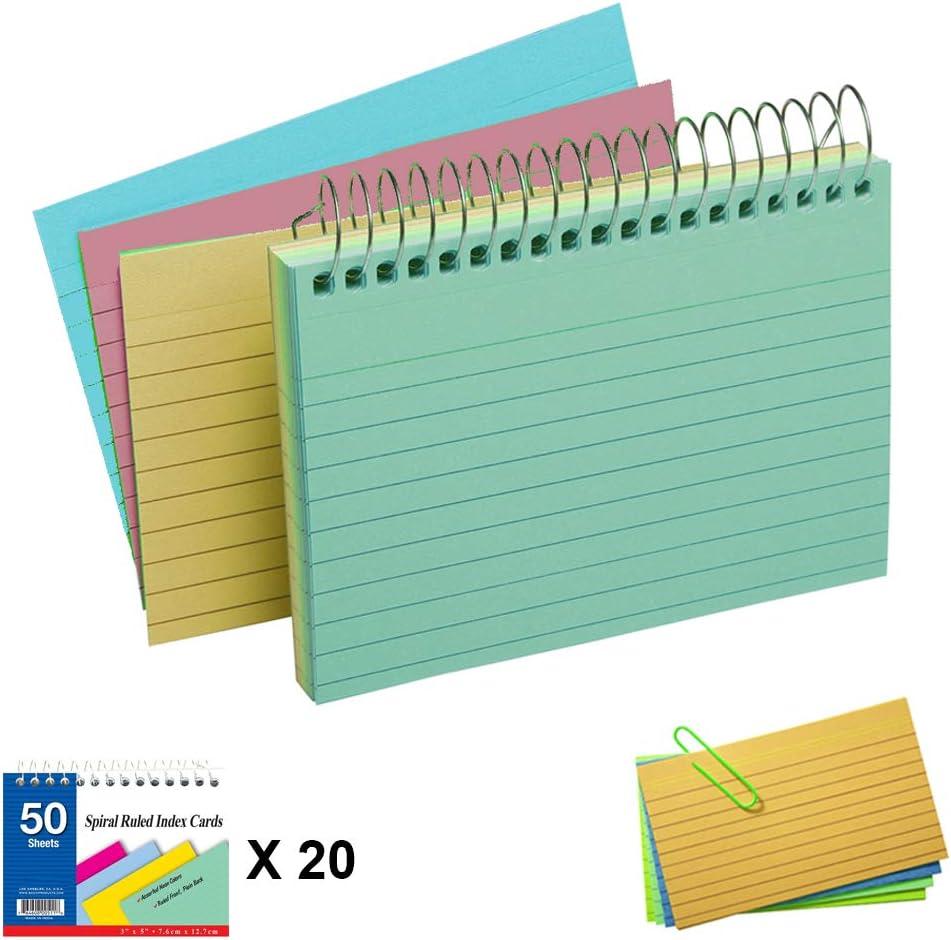 20 Pack Spiral Bound Index Cards OFFicial mail order 3