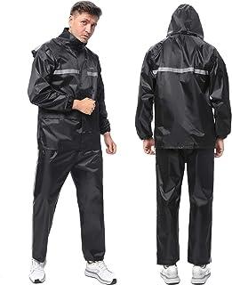 CooITry レインウェア 上下セット レインコート レインスーツ 防水 撥水 通気 アウトドア自転車 バイク 通学通勤 梅雨台風対策 男女兼用 収納袋付き ブラック