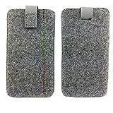 handy-point Handyhülle Filz für 6,4 Zoll Smartphones, Grau mit Naht