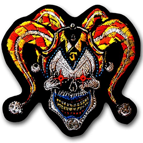 Verani Joker Clown Devil Face Patch Iron On Embroidered Iron on Badge Emblem Demon Batman Harley Quinn DC Comic Cartoon