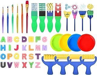 NITRIP 26pcs Madera Esponja Pl/ástico Ni/ños Pinceles de Suministro de Pintura Esponja Cepillo de Pintura Herramienta de Sello de Juguete Juego de Dibujo para Juegos Infantiles
