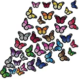 Butterfly Iron on Patches Butterfly Embroidery Applique Patches for Arts Crafts or DIY Decoration T-Shirt Jacket Shoes Bags Repair Patch (Large+Small, 36 Pieces)