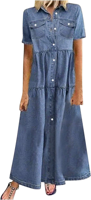 VAIFTILNO Women's Dresses Summer Casual Multi-Button Denim Maxi Dress Lapel Short Sleeve Loose Long Jeans Dress with Pockets