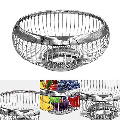 Pure besi Acier Inoxydable Fruits Assiette Corbeille à fruits en acier inoxydable Fruit Basket européenne Mode Créatif Fruit Bonde Panier de rangement rondes