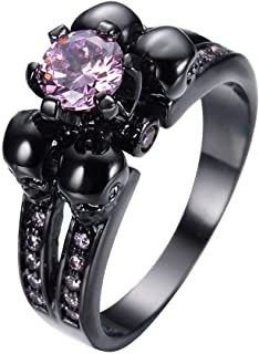 pink and black skull ring