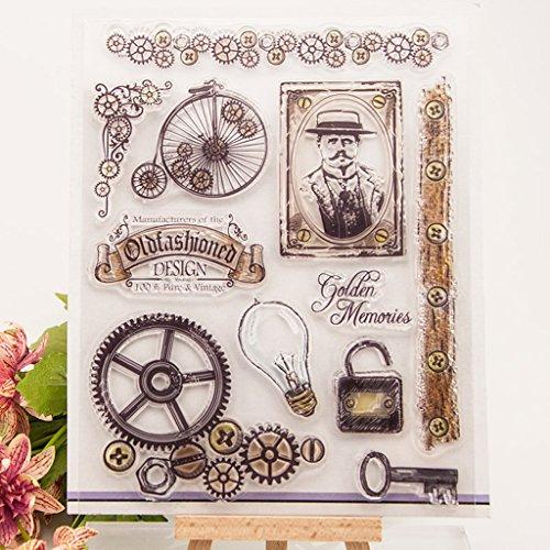 ECMQS Vintage DIY Transparente Briefmarke, Silikon Stempel Set, Clear Stamps, Schneiden Schablonen, Bastelei Scrapbooking-Werkzeug