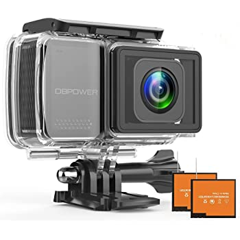 "DBPOWER EX7000 PRO 4K Action Camera 2.45"" LCD Touchscreen Underwater Camera with 16MP Image Sensor Waterproof Sports Cam and 170° Wide-Angle Lens 2X Rechargeable Batteries"