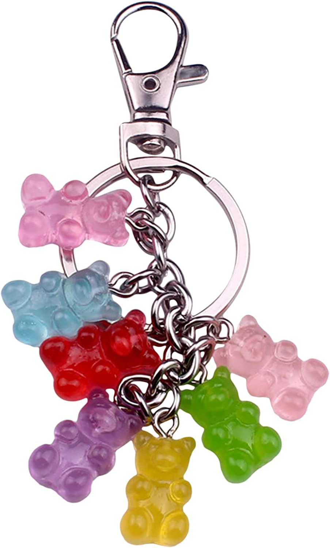 Underleaf Multicolors Gummy Bear Keychain, Cute Sweet Bear Keyring