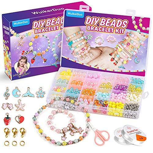 WuikerDuo abalorios para enhebrar, juegos de joyas de abalorios brillantes, hacer pulseras, collares, juego de manualidades para niñas y niños