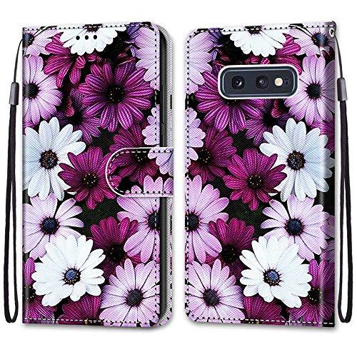 Nadoli Handyhülle Leder für Samsung Galaxy S10e,Bunt Bemalt Elegant Gänseblümchen Trageschlaufe Kartenfach Magnet Ständer Schutzhülle Brieftasche Ledertasche Tasche Etui