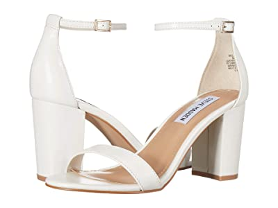 Steve Madden Exclusive Declair Block Heeled Sandal (White Leather) High Heels