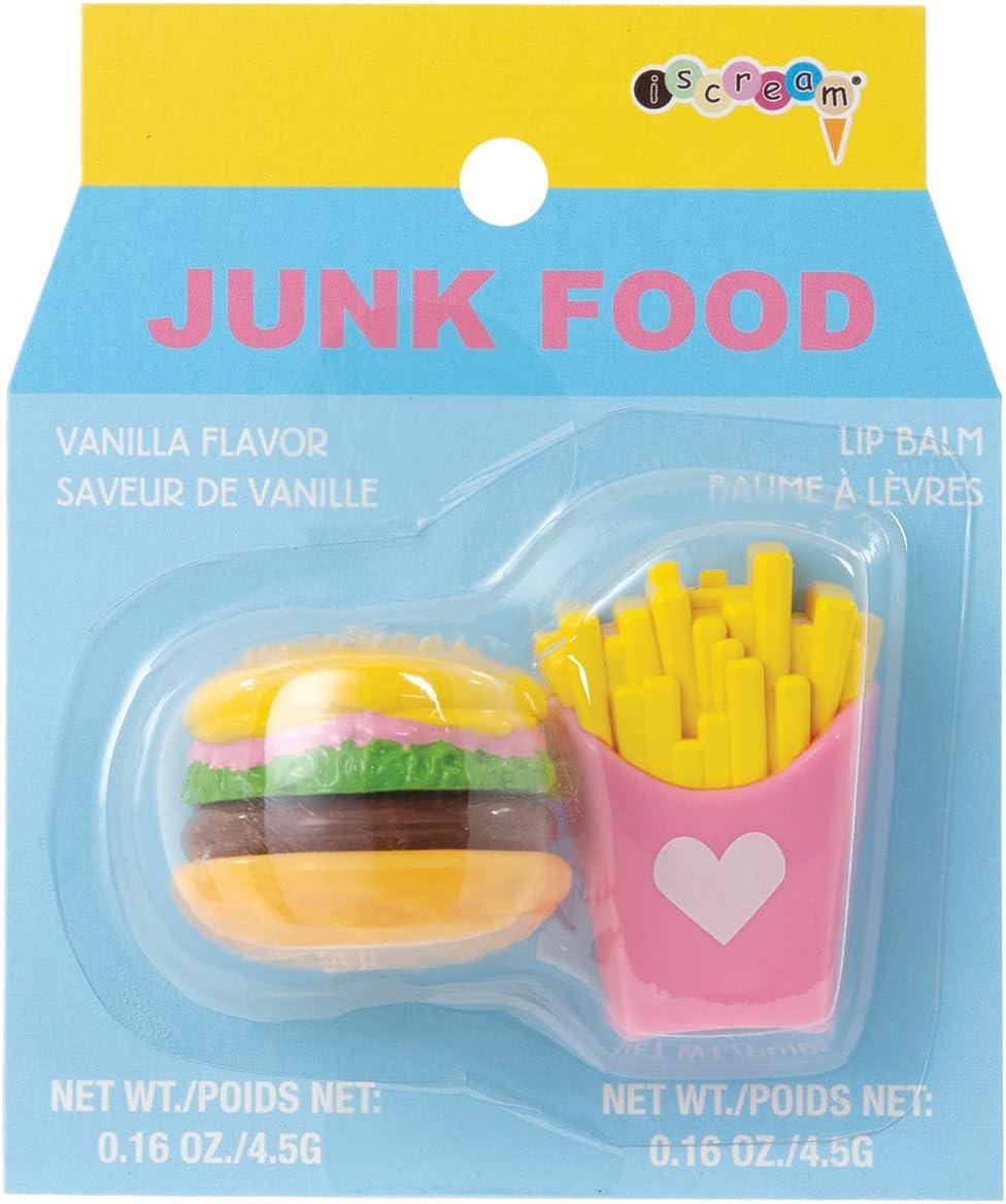 iscream Junk Food Rapid rise Burger and Rare Fries Lip Ba Scented Shaped Vanilla