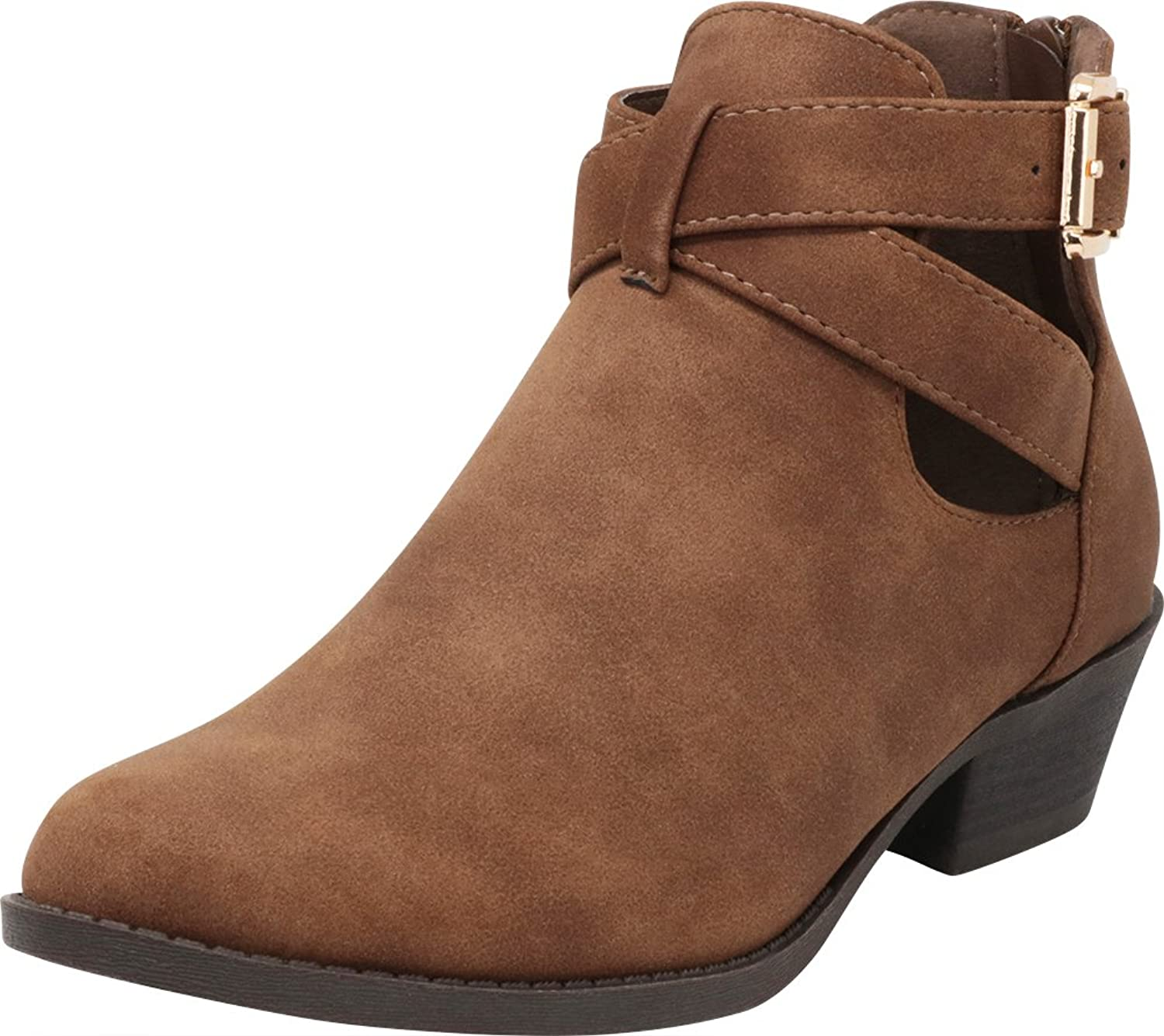 Cambridge Select Women's Closed Toe Western Crisscross Strap Buckle Side Cutout Chunky Stacked Low Heel Ankle Bootie