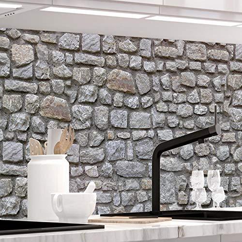 StickerProfis Küchenrückwand selbstklebend Premium STEINWAND Design 1.5mm, Versteift, alle Untergründe, Hartschicht, 60 x 400cm