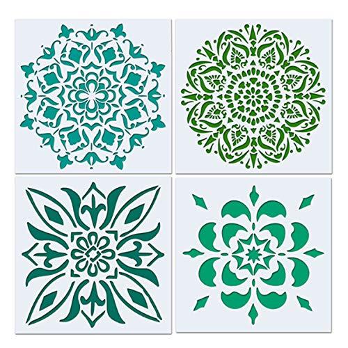 Artibetter 4 Stücke Mandala Boden Schablone, Malerei Schablone, Laser Cut Malerei Vorlage für Dekor Wand Fliesen Holz Möbel Stoff, Airbrush, Rocks