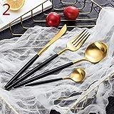 MFJTB 304 Color de los Cubiertos de Acero Inoxidable fijó Cuatro Conjuntos de Juego de Cuchillos Caja de Regalo Set de Cubiertos Filete Restaurante de la cuchillería (Color : B)