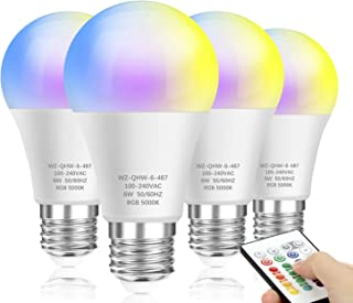 Color Changing Light Bulbs, Dimmable LED Color Light Bulb with A19 E26 Screw Base, RGBW & Daylight White, 60W Equivalent, 16 Colors Memory Function Decorative Lights for Bar, Party, Home, 4-Pack