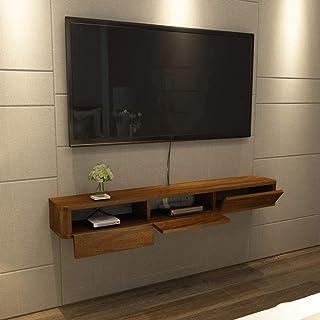 Montage mural flottant Support TV Media Console moderne Armoire de rangement à portes coulissantes Salon TV Console Media ...