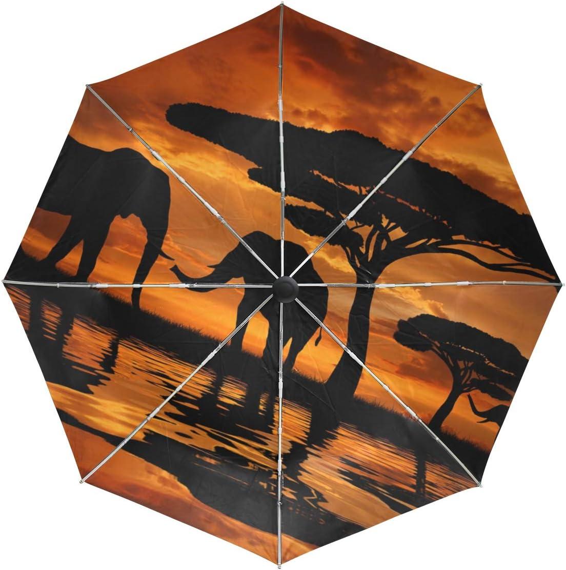 Umbrella Auto Open Close Elephants Tree L Many popular Max 53% OFF brands Folds 3 Anti-UV Sunset